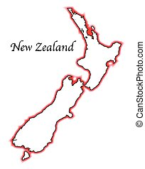 New Zealand - Outline map of New Zealand over a white...