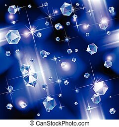 Diamond background - Falling diamond background under blue...