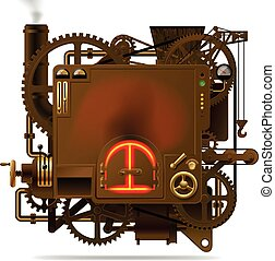Fantastic machine - Raster version of vector isolated image...
