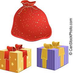 Red bag with gifts and the box