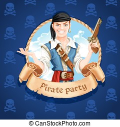 Cute pirate Banner for Pirate party
