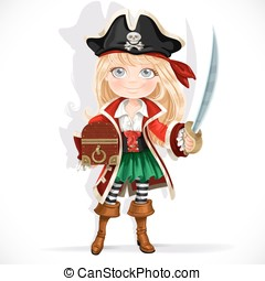 Cute pirate girl with cutlass and treasure chest isolated on...