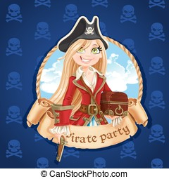 Cute pirate girl with treasure chest Banner for Pirate party...