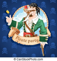 Cute pirate with monkey throw up golden coin . Banner for...