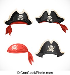 Set of pirate hats and bandana with Jolly Roger
