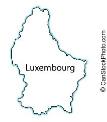 Luxembourg - Outline map of Luxembourg over a white...