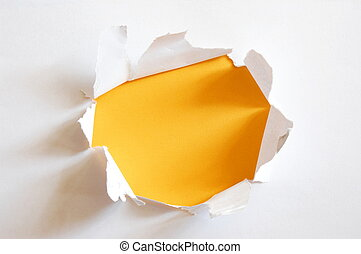 yellow hole in paper - yellow hole in blank sheet paper with...