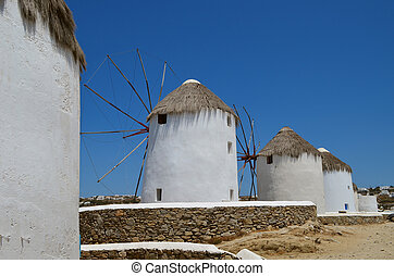 White windmills on  Mykonos
