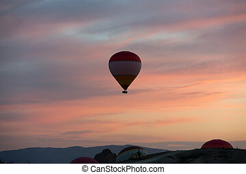 Hot Air Baloon over Cappadocia at sunrise Turkey