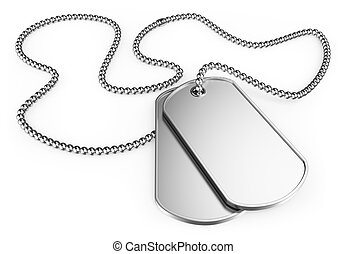 3D Dog tags - 3d soldier dog tags. Isolated white...