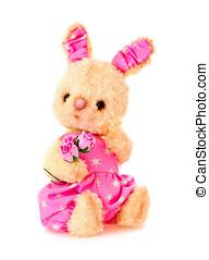 玩具, 被隔离, 手, 兔子, 花,  bunny