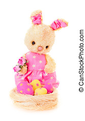Rabbit bunny toy with flowers and eggs isolated - Rabbit...