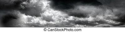 negro, tempestuoso, nubes