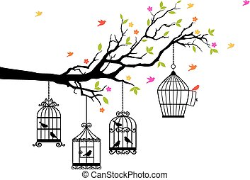 free birds and birdcages, vector - freedom, tree branch with...