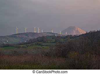 ITALY, Campania, Salerno, countryside, Eolic energy turbines...