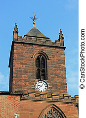 Church clock - Close-up of a church in Chester, UK, showing...