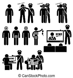 Censor Censorhip Government Media - A set of human pictogram...