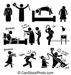 Exorcist Exorcism Cliparts - A set of human pictogram...