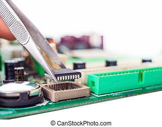 assembly repair tweezers computer parts and motherboard
