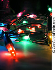 Christmas lights decoration on dark background