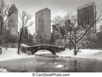 Winter scene in Manhattan: the Pond, Gapstow Bridge and...