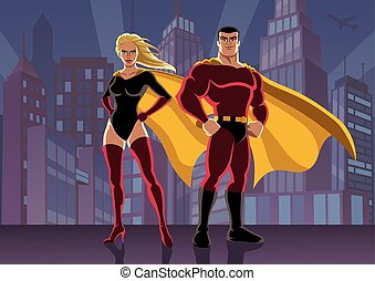 Superhero Couple 2 - Male and female superheroes, posing in...
