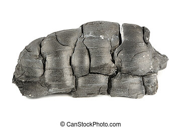 Burnt Wood Charcoal Isolated on White Background - A lump of...