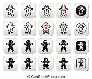 Gingerbread man Christmas buttons s - Vector buttons set of...