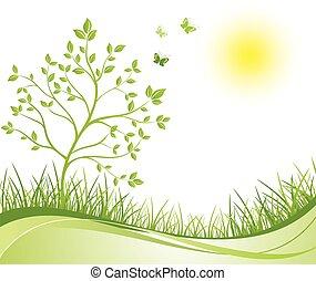春, 緑, 背景,