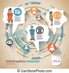 Infographic Flat Design Illustration for Web Social Network