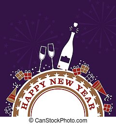 New Years Celebration - A New Years themed design with gift...
