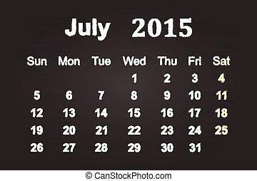 July Month 2015 Calendar On Blackboard