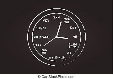 Mathematics Clock On School Blackboard