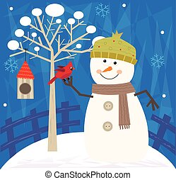 Snowman and Bird - Snowman with a bird is standing next to a...