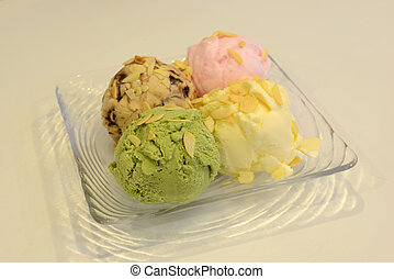 Four scoops of ice cream, good for your menu design