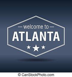 welcome to Atlanta hexagonal white vintage label