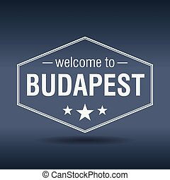welcome to Budapest hexagonal white vintage label