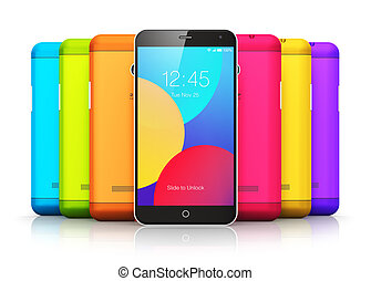 Smartphones with color back covers - Creative abstract...