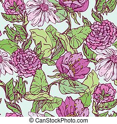 Floral Seamless Pattern with handdrawn flowers on light blue bac