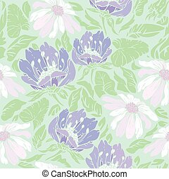 Floral Seamless Pattern with hand drawn flowers on light blue ba