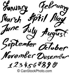 Title of months of the year. Numbers from 0 to 9 - handwritten t