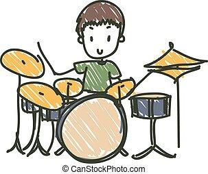 Drummer - cartoon hand drawn drummer with drum kit