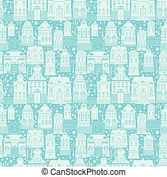 Seamless pattern with fairy tale houses, lanterns, trees. Christ