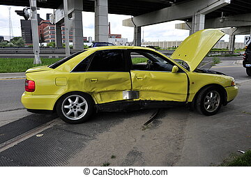 CAR ACCIDENT - yellow car crashed,doors bent