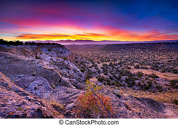 Tsankawi Sunrise - Golden sunrise over Bandelier National...