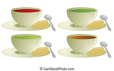 Soup with crackers - Soup and crackers with spoon isolated...