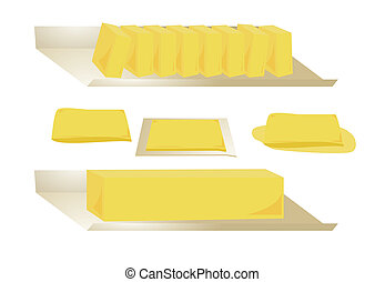 Butter isolated - Four types of butter isolated on a white...