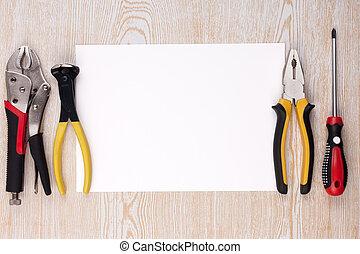 工具, 紙, 工作, 表