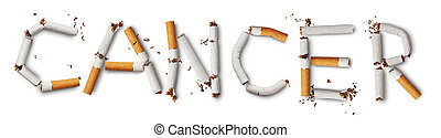 cancer - Text cancer made from broken cigarettes