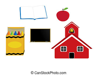 School graphics - Schoolhouse apple crayons blackboard and...